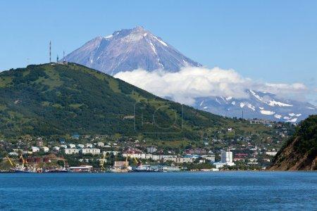 View of city Petropavlovsk-Kamchatsky, Avacha Bay and Koryaksky Volcano