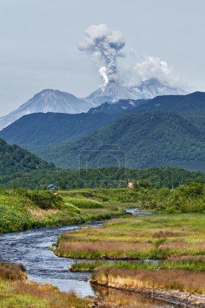 Mountain landscape: eruption Zhupanovsky Volcano on Kamchatka