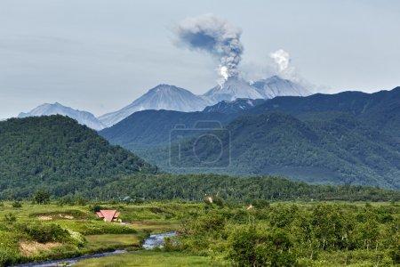Nature of Kamchatka: eruption active Zhupanovsky Volcano