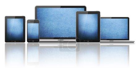 Photo pour Tablet pc, téléphone mobile, ordinateur portable et ordinateur - image libre de droit