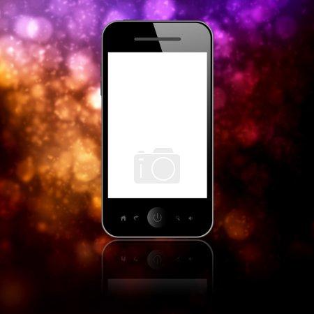 Mobile phone on violet