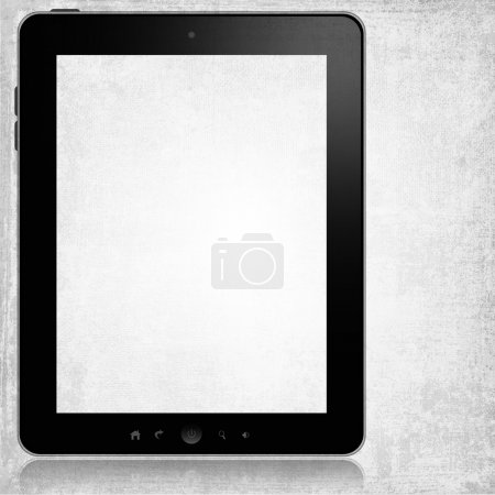 Photo for Tablet pc with white screen isolated on grey grunge background - Royalty Free Image