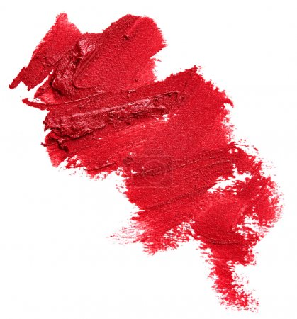 Photo pour Rouge à lèvres rouge tâché isolé sur fond blanc - image libre de droit