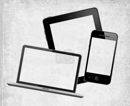 Tablet pc, laptop and mobile phone