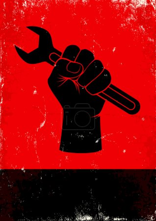 Photo for Red and black poster with hand holds a wrench - Royalty Free Image