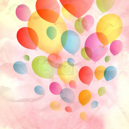 Photo for Festive background with colorful balloons on watercolor pink background - Royalty Free Image