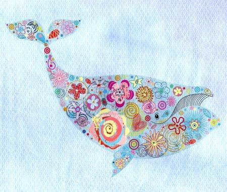 Photo pour Belle baleine décorative florale sur fond d'aquarelle bleue - image libre de droit