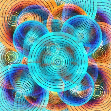 Foto de Envejecido brillante geométrico abstracto acuarela fondo del círculo - Imagen libre de derechos