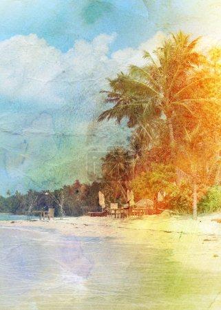 Photo pour Vintage rétro aquarelle belle plage tropiques - image libre de droit