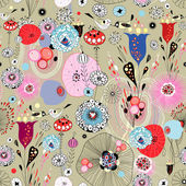 Floral and abstract texture with birds