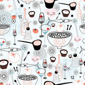 Seamless graphic pattern of different food and drink on a light blue background
