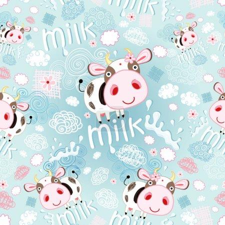 Illustration pour Lumineux motif sans couture gai de vaches et de lait sur un fond bleu avec des nuages - image libre de droit