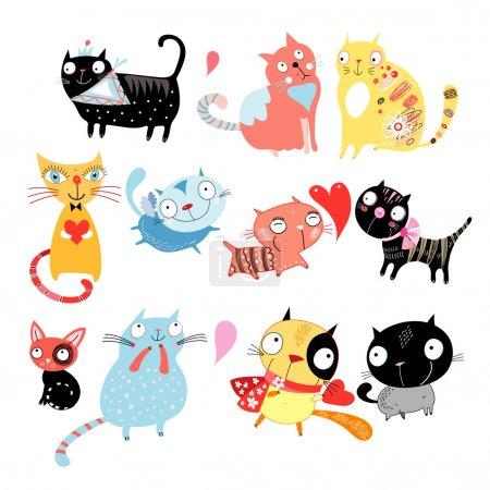 Illustration pour Différents chats drôles de couleur sur un fond blanc - image libre de droit
