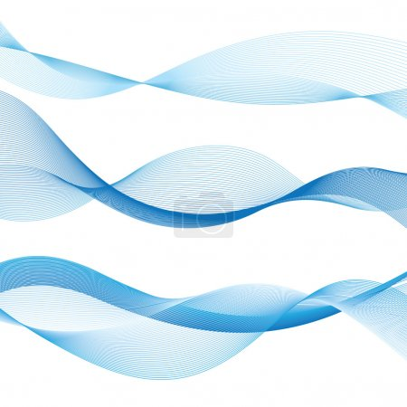 Illustration for Blue contour graphics waves on a white background - Royalty Free Image