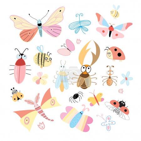 Illustration pour Ensemble d'insectes colorés drôles sur un fond blanc - image libre de droit