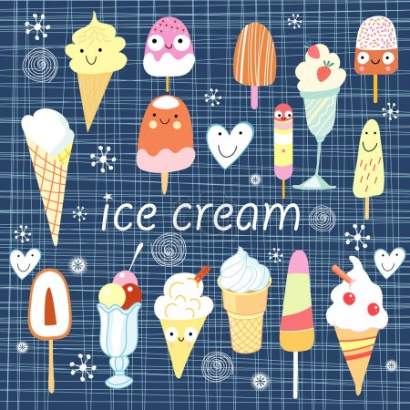 Illustration pour Différentes variétés colorées de crème glacée sur un fond bleu - image libre de droit
