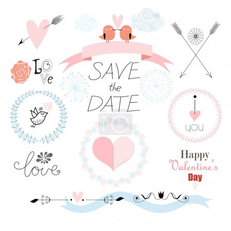 Illustration for Graphic to set a romantic Valentine's Day hearts of rulers birds frameworks and symbols on a white backgroun - Royalty Free Image