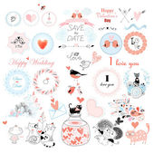 Valentine's Day and the day of the wedding set - labels  badges and other items Vector illustration