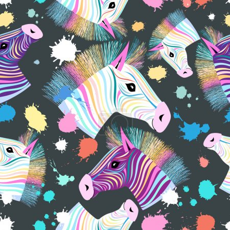 Illustration for Seamless pattern of bright colorful portraits of zebras on a dark background - Royalty Free Image