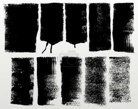 Illustration for Set of detailed grunge paint roller strokes - Royalty Free Image