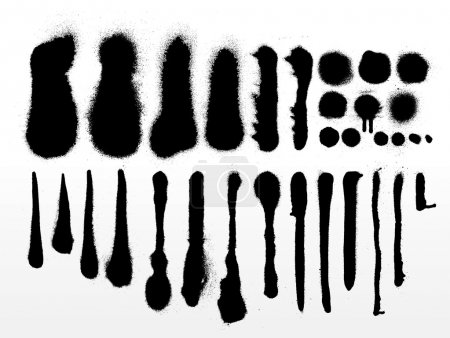 Illustration for Vector set of detailed grunge spray paint strokes and textures - Royalty Free Image