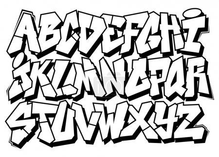 Illustration pour Type de police de graffiti art classique de la rue. alphabet de vecteur - image libre de droit