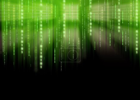 Photo for Illustration of binary code with matrix style letters - Royalty Free Image