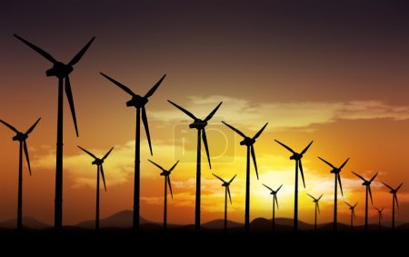 Photo for Aeolian field and wind turbines - Royalty Free Image