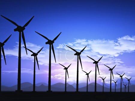 Foto de Campo eólico con turbinas eólicas - Imagen libre de derechos