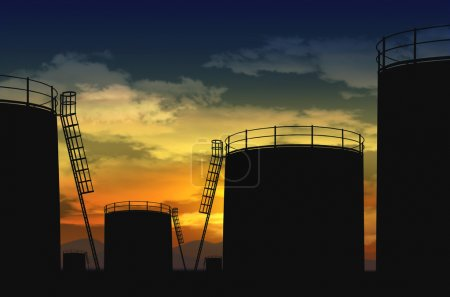 Photo for Oil terminal , oil tank silhouette - Royalty Free Image