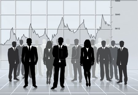 Photo for Business silhouettes team successful, global economy stats - Royalty Free Image