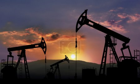Photo for Oil field with pump jack , oil industry - Royalty Free Image