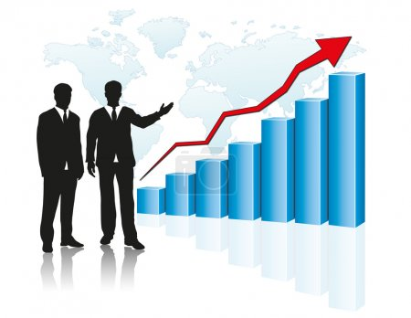 Photo for Businessman silhouette pointing growing graph - Royalty Free Image