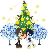 A date under the green Christmas tree