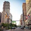 View of abandoned downtown of Detroit, Michigan...