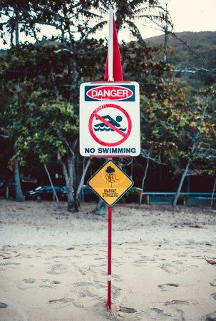 Yellow warning sign of marine stingers