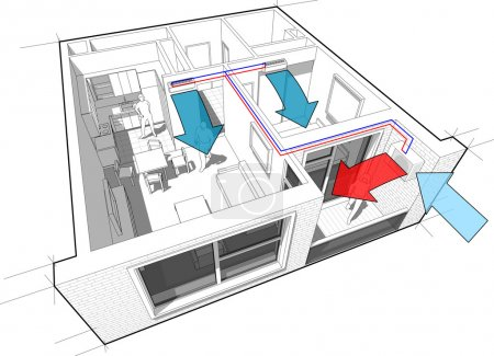 Illustration for Perspective cutaway diagram of a one bedroom apartment completely furnished with two indoor wall air conditoner and external unit situtead on the balcony - Royalty Free Image