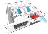 Apartment with indoor wall air conditioning diagram