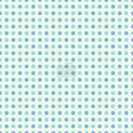 Illustration for Seamless polka dot pattern in retro style, subtle colors. Can be used to fabric design, wallpaper, decorative paper, scrapbook albums, web design, etc. Swatches of seamless pattern included in the file for ease of use. - Royalty Free Image