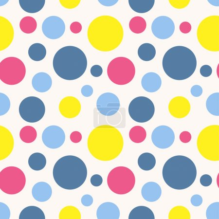 Illustration for Seamless polka dot pattern in retro style. Can be used to fabric design, wallpaper, decorative paper, scrapbook albums, web design, etc. Swatches of seamless pattern included in the file. - Royalty Free Image