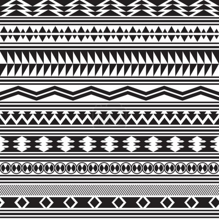Tribal striped seamless pattern. Geometric black-white background.
