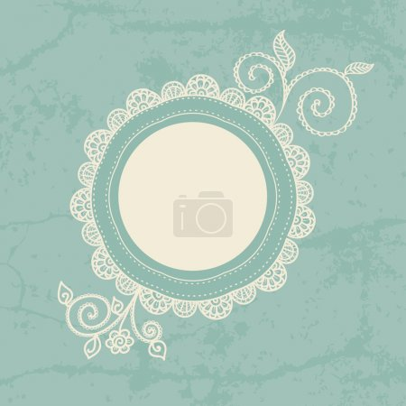 Illustration for Hand-drawn lace frame. Can be used for decoration of photos, scrapbooking, web project, template for invitations, etc. - Royalty Free Image