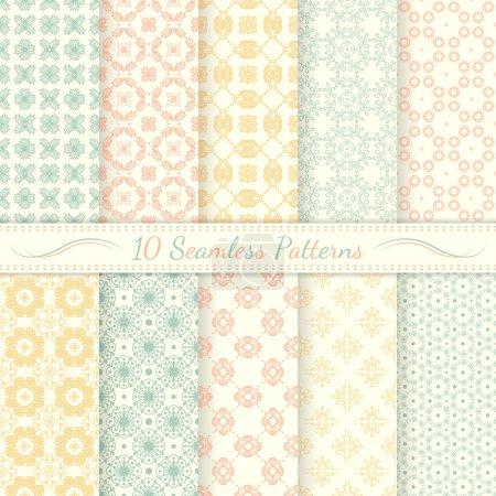 Set of ten seamless retro patterns.