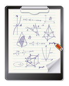 Clipboard with mathematics geometric shapes and expressions sketches