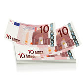 Flying euro bills the concept of success