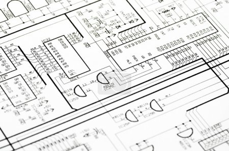 Photo for Detailed technical drawing with a lot of calculations. - Royalty Free Image