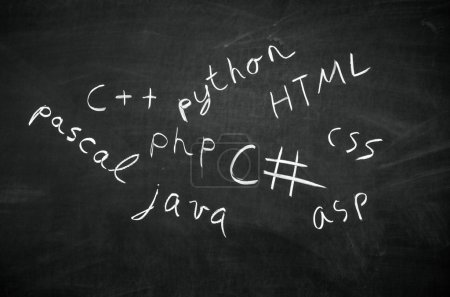 Photo for Several programming languages names written in on the blackboard - Royalty Free Image