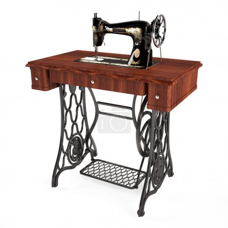 Photo for The old vintage sewing machine isolated - Royalty Free Image