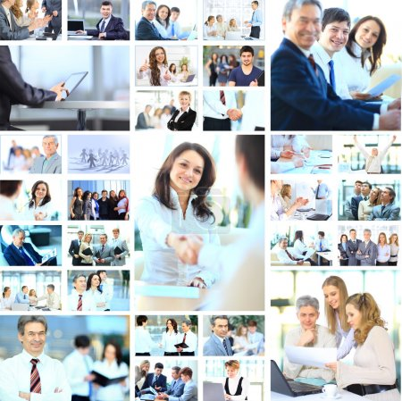 Collage with businesspeople working together and tools