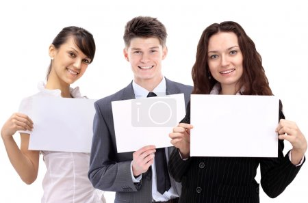 group of young smiling business . Over white background